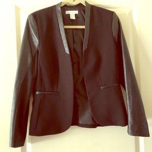 Leather Accent Blazer